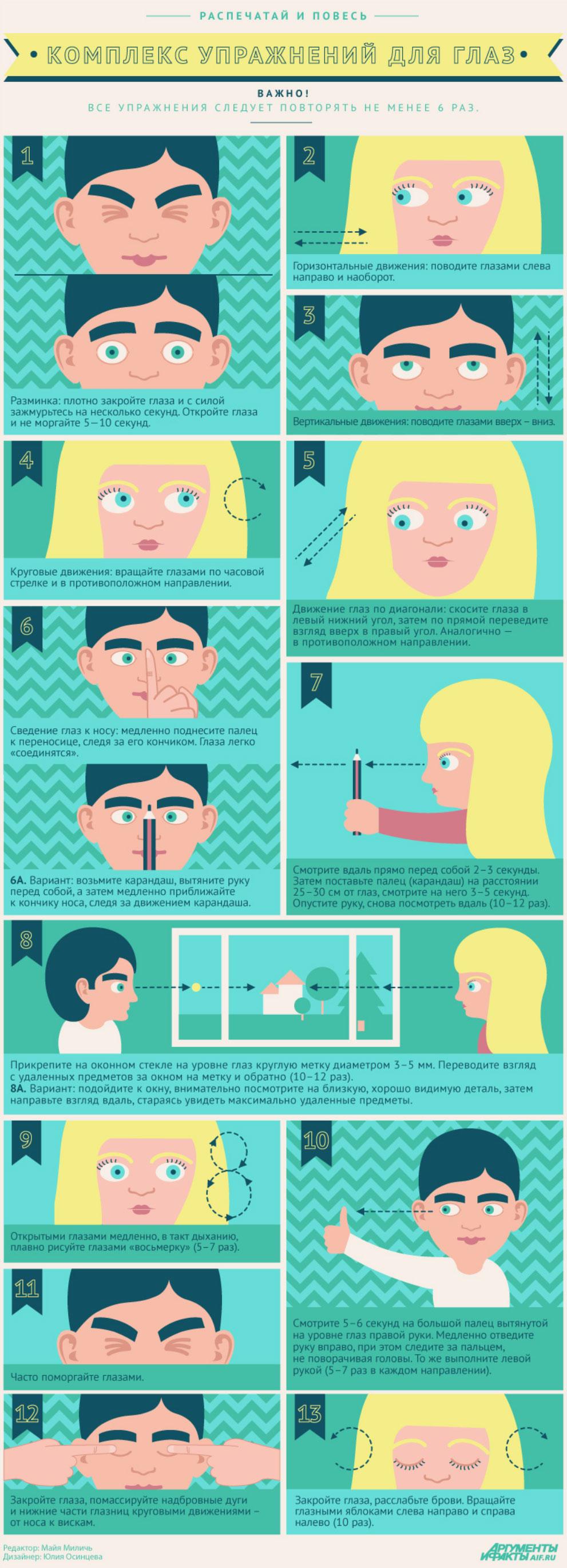 13 простых упражнений против усталости глаз